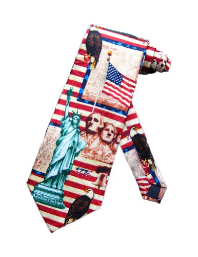 Steven Harris Symbols and Landmarks of the US Necktie - Red - One Size Neck Tie - History Of The Necktie