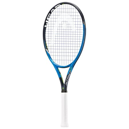 HEAD Graphene Touch Instinct Lite Blue Black Lime Extended Oversized 16×19 Tennis Racquet Strung with Complimentary Custom String Colors Best Racket For Power and Comfort