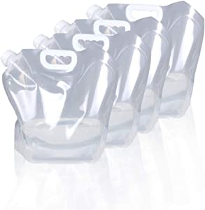 1.3 Gallon /2.6 Gallon Collapsible Water Container Bag, BPA Free Food Grade Clear Plastic Storage Jug for Sport Camping Riding Mountaineer,Freezable,Food Grade (1.3 Gal, 4-pack)