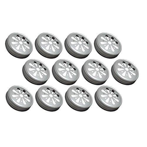 Sunshine Mason Co. Daisy Flower Cut Mason Jar Lids 12 Pieces, Silver