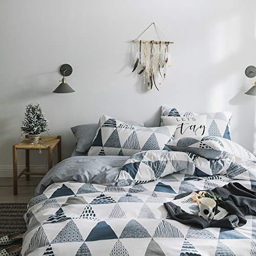 HIGHBUY Soft Cotton Queen Duvet Cover Full Bedding Sets for Boys Girls Reversible Triangle Comforter Cover Full Queen Gray Home Geometric Bedding Duvet Cover Sets with 2 Pillow Shams