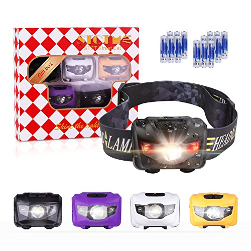 Gift Package- 5 Pack Headlamps Flashlight, STCT Cree LED Headlamp with red Lights, Great for Running, Hiking, Camping, Fishing, 160 LM, Batteries Included