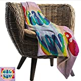 EwaskyOnline Groovy Baby Blanket Peace and Love Text in Tie Dye Pattern Energetic Youthful Fun 58s 70s Hippie Design Recliner Throw,Couch Throw, Couch wrap 84' W x 70' L Multicolor
