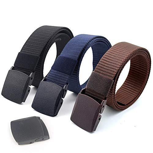 [해외]Coobbar 3팩 나일론 캔버스 벨트 플라스틱 버클 벨트 여행용 조절 가능한 나일론 웹 슬라이드 벨트 / Coobbar 3-Pack Nylon Canvas Belt Plastic Buckle Belt Travel Adjustable Nylon Web Slide Belt (Dark)