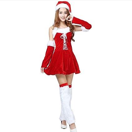 fc05870a93 WFTD Navidad Santa Claus Traje de Las Mujeres de Hombro Vestido de Liguero  de Terciopelo Falda