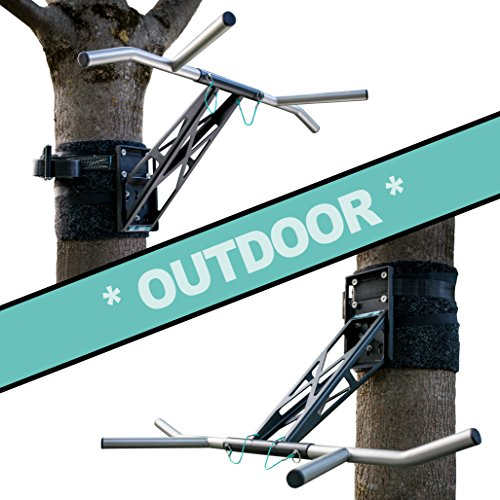 PULLUP & DIP Indoor & Outdoor Pull-up bar (Outdoor Package (mounting on a Tree/Post))