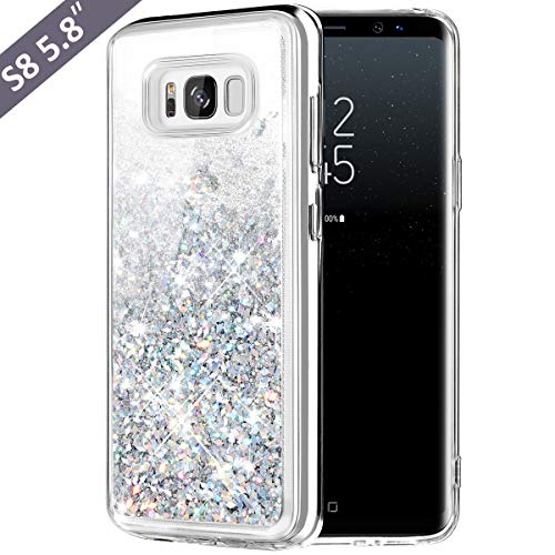 Galaxy S8 Case, Caka Galaxy S8 Glitter Case Luxury Fashion Bling Flowing Liquid Floating Sparkle Glitter Soft TPU Case for Samsung Galaxy S8 - (Silver)