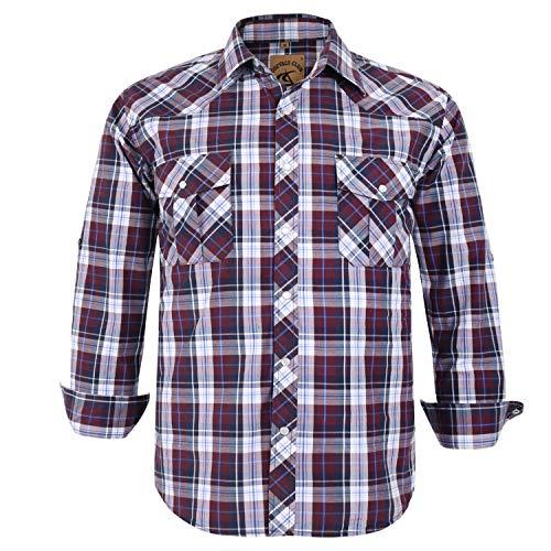 Coevals Club Men's Button Down Plaid Long Sleeve Work Casual Shirt (Brown Plaid #25, S)