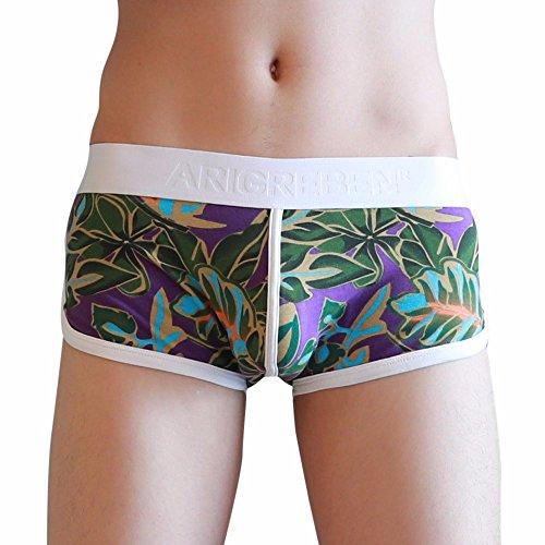 (NEARTIME Men's Underwear, Classic Briefs Man Flower Print Boxer Under Wear Full Briefs)