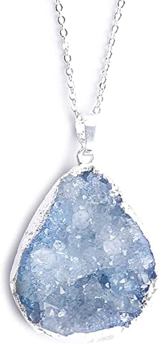 Plated Silver Necklace The Angel Teardrop Natural White Crystal Pendant
