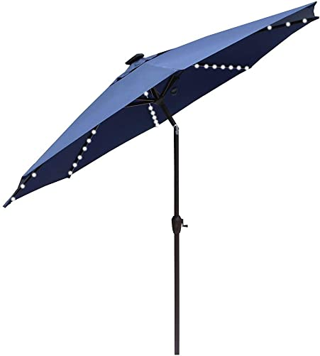 Le Papillon Outdoor Patio Umbrella 9 Ft Solar Powered Lighted Table Market Umbrella with Crank and Push Button Tilt, Blue