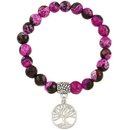 Falari Tree of Life Charm Natural Stone Bracelet Black Mix Fuchsia Agate B0060-BFA