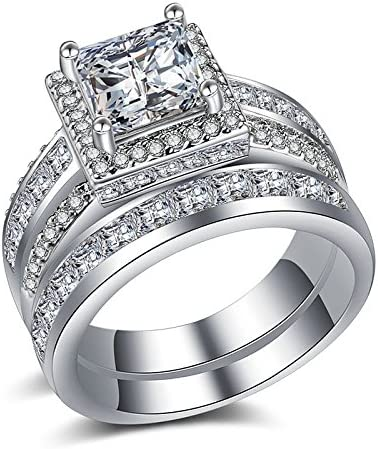 Womens Round Cut White Sapphire Engagement Ring 925 Silver Wedding Band Size6-10