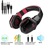 Wireless Gaming Headset Noise Cancelling, VPRAWLS Each B3505 NFC Stereo V4.1 Bluetooth/Wired Over-ear Gaming Headphones with Microphone for PC Computer Mac Laptop iPhone Smartphone (Black Red)