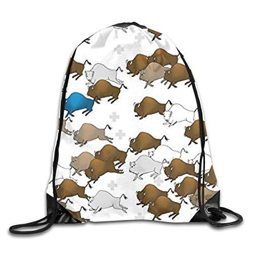 (Bison Buffalo Stampede Men & Women Fashion Backpacks Shoulder Bag Laptop Backpack,sport Gym Sackpack Drawstring Backpack Bag)