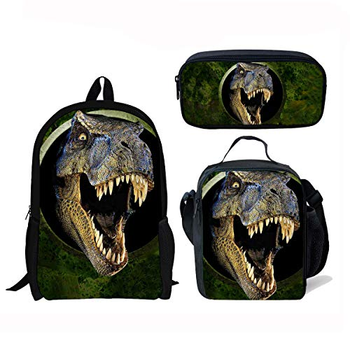 Micandle Animal School Backpack Lunch Bag Pencil case Set with Padded Straps for Boys Girls School Book Bags (Backpack Set Dinosaur 6)