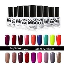Vishine Choose Any 20 Colors Soak-Off UV LED Gel Nail Polish Base Top Coat 20Pcs × 7ml