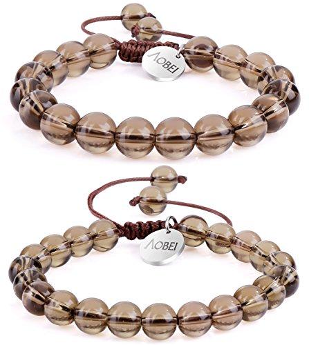 (2PCS Smoky Quartz Gemstone Beaded Couple Bracelet 8MM/10MM Round Beads Healing Reiki Macrame Adjustable Jewelry for Men Women by Aobei)