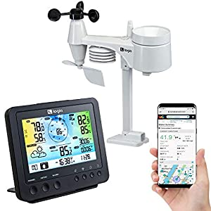 Logia 5-in-1 Wi-Fi Weather Station | Indoor/Outdoor Remote Monitoring System Reads Temperature, Humidity, Wind Speed/Direction, Rain & More | Wireless LED Color Console w/Forecast Data, Alarm, Alerts Patio, Lawn and Garden