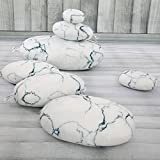 Roner Large Stuffed Rocks Stone Pebble Living Pillows Floor Cushions Home Decoration Throw Pillows White Marble 7pcs