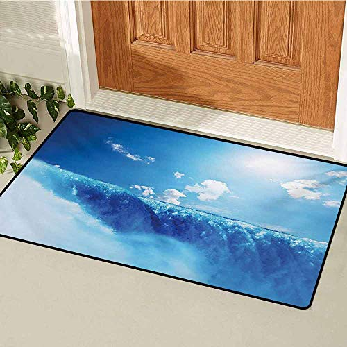 GUUVOR Waterfall Commercial Grade Entrance mat Niagara Falls and Clear Sky Landscape Image Majestic River Nature Theme Artistic Print for entrances garages patios W23.6 x L35.4 Inch Blue]()