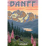 Banff, Canada - Bear and Spring Flowers (12x18 Art Print, Wall Decor Travel Poster)