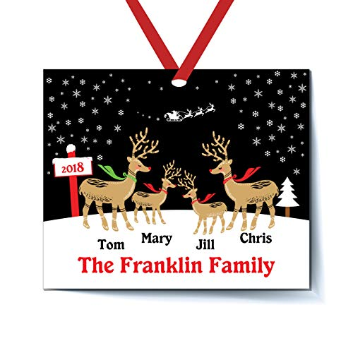 (Personalized Reindeer Family of 4 Christmas Ornament for Tree 2018 - Personalized Family of Four Christmas Ornament 2018 - Personalized Family of 4 Christmas Ornament - Personalized Family of 4)