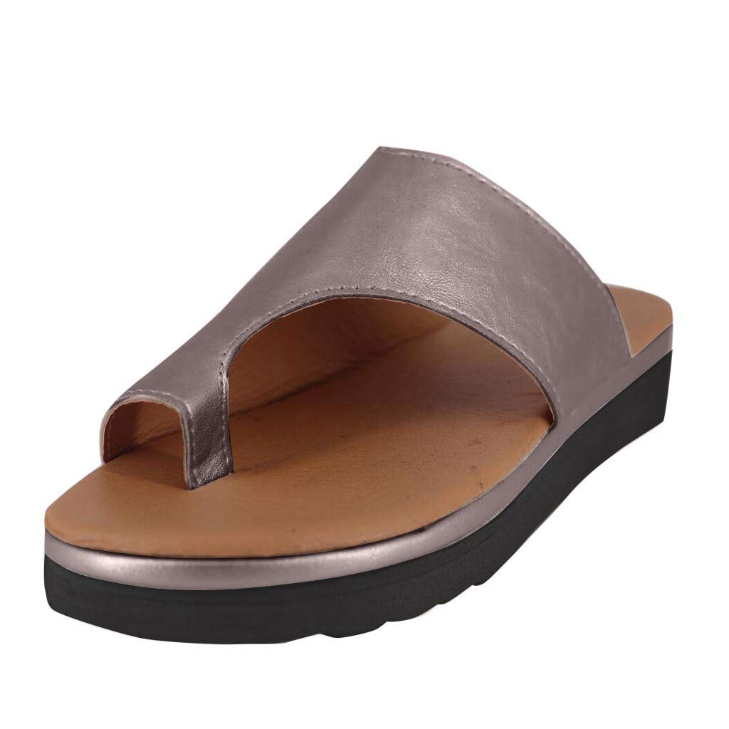 Mysky Fashion Women Popular Casual Comfy Open Toe Ankle Beach Shoes Ladies Pure Color Wedges Roman Slippers Brown