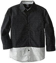 American Hawk Big Boys' Color Block Patterned Sport Shirt, Plaid Black/Grey, 14