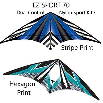 WindNSun EZ Sport 70 Kite - Dual Control Nylon Sport Kite (Blue Hexagon Print): Toys & Games