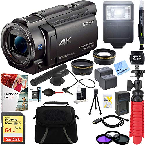Sony FDR-AX33/B - 4K Camcorder with Mini Zoom Microphone + 64GB SDXC Memory Card + 0.43x Wide Angle + 2.2x Telephoto Lens Converter + Carrying Case + Card Reader + Microfiber Cloth + Tripod+More