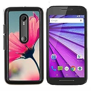 Enfoque Flor de primavera y verano borrosa azul- Metal de aluminio y de plástico duro Caja del teléfono - Negro - Motorola Moto G (3rd gen) / G3