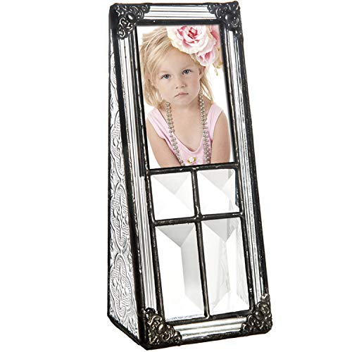 J Devlin Pic 360-23 Vintage Clear Stained Glass 2x3 Picture Frame School Photo Frame Baby Keepsake Gift from J Devlin Glass Art