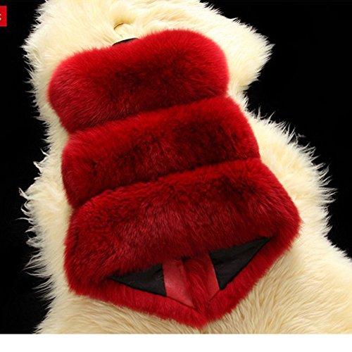 Gilet Manches Manteau Rouge sans Renard Courte en Veste de Fourrure LaoZan OZz5Pq
