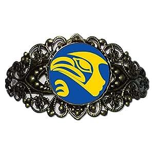 Chicforest Bronze Retro Style Eagle Face Flower Cuff Bracelet