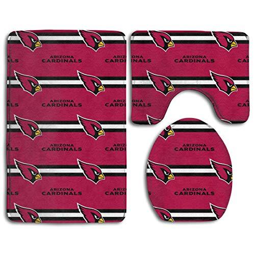 RS-pthrAB !!! Custom Colorful Doormat American Football Team Arizona Cardinals Indoor Bathroom Anti-Skid Mats,3 Piece Non-Slip Bathroom Rugs,Non-Slip Mat Bath + Contour + Toilet Lid ()