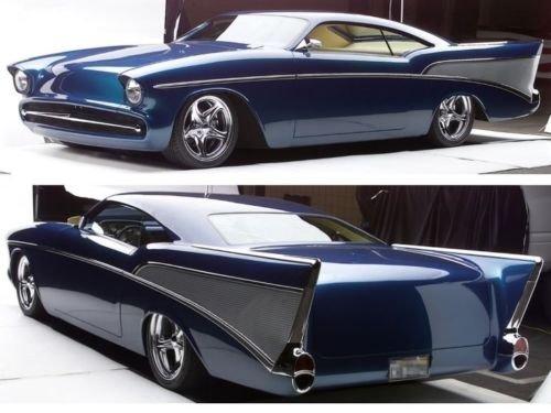 12 Blue Diecast Car - 1957 Chevy Chevrolet Concept 1 Dragster Drag Racing Race Vintage Collector Sport Car Built Diecast Metal Scale Model Sportscar Art Hot Rat Rod Carousel Blue Collectible 25 1956 18 1969 12 1955 24 1967
