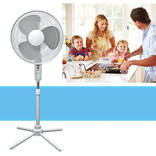 Adjustable Stand Pedestal - HowPlumb Oscillating Pedestal Stand Fan Quiet Adjustable 16-Inch 3 Speed, White
