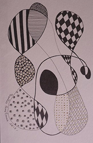 ORIGINAL Abstract PAINTING - Black Waterproof Ink ABSTRACT DRAWING on Heavy STRATHMORE White Paper - SIZE:8.5''x5.5'' - Signed by the Artist - ONE-OF-A-KIND - by Santos Arellano - Art & Crafts