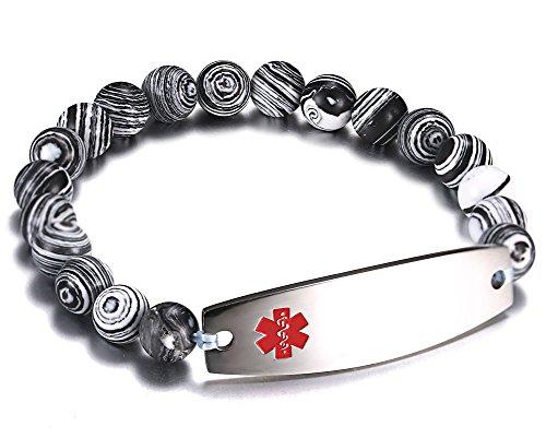 Stretch Zebra - JF.JEWELRY Free Engraving Medical Alert ID Bracelet for Women and Men with Zebra Pattern Beaded Stretch Link