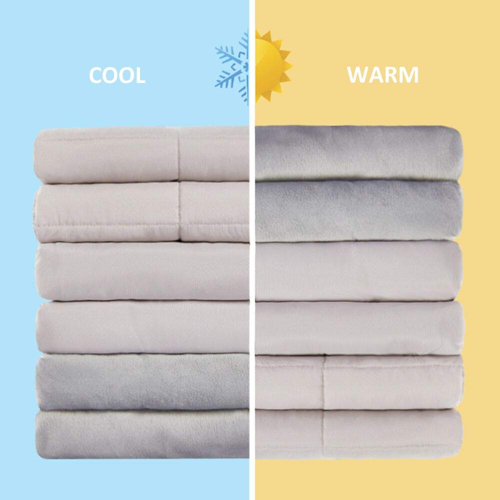 Thirdream Cooling Weighted Blanket 15lbs Adults, 3 Pieces, 48''x 72'', with 2 Removable Washable Covers, Soft Minky Cover and Ice Silk Cover, Grey, Twin Size by Thirdream