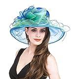SAFERIN Women's Organza Church Fascinator Flower Kentucky Derby Cap British Two Tone Tea Party Wedding Hat (Blue and Green)