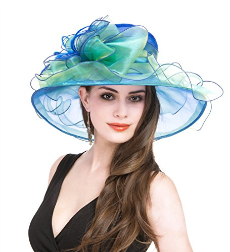SAFERIN Women's Organza Church Fascinator Flower Kentucky Derby Cap British Two Tone Tea Party Wedding Hat (Blue and Green)
