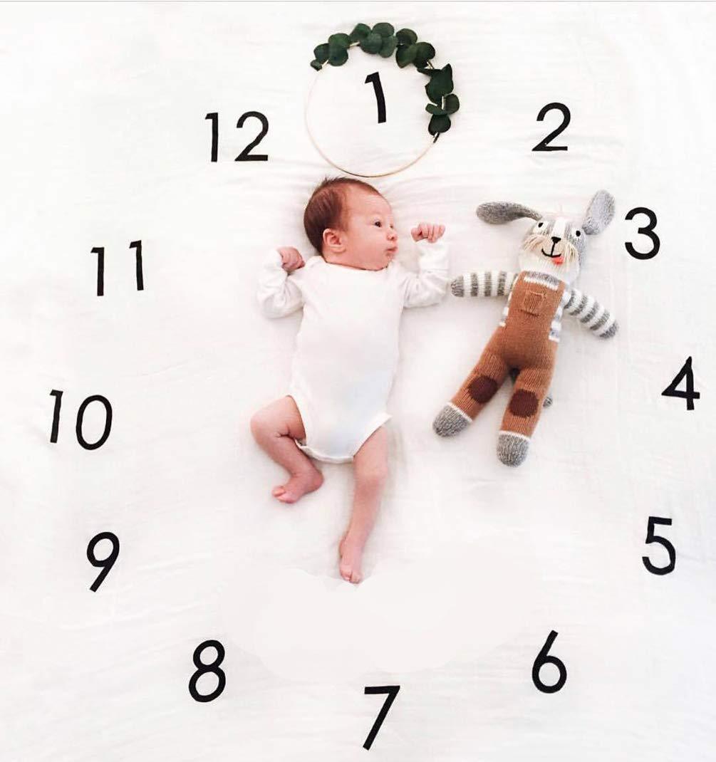 Meslio Baby Monthly Milestone Blanket, Newborn Photography Props Shoots Backdrop for Boys Girls,, 40''x 40''