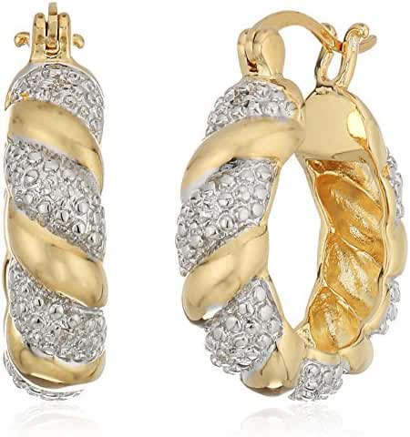 Two-Tone Diamond Accent Hoop Earrings with Yellow Gold Overlay (20mm)
