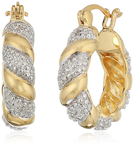 Two-Tone-Diamond-Accent-Hoop-Earrings-with-Yellow-Gold-Overlay-20mm