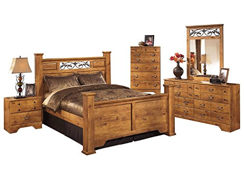 Ashley Bittersweet 5 PC Queen Panel Bedroom Set with Chest In Light Brown by Ashley Furniture
