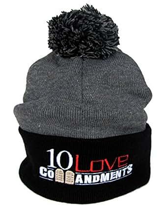 10 Love Commandments Embroidered Pom Pom Knit Beanie Cap