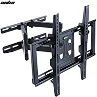 UNHO Dual Arm Full Motion Tilt Swivel TV Wall Mount Bracket upto 70 inch LCD LED OLED and Plasma Flat Screen TV with Tilting Swivel Articulating Arm up to VESA 600x400mm and 110 lbs