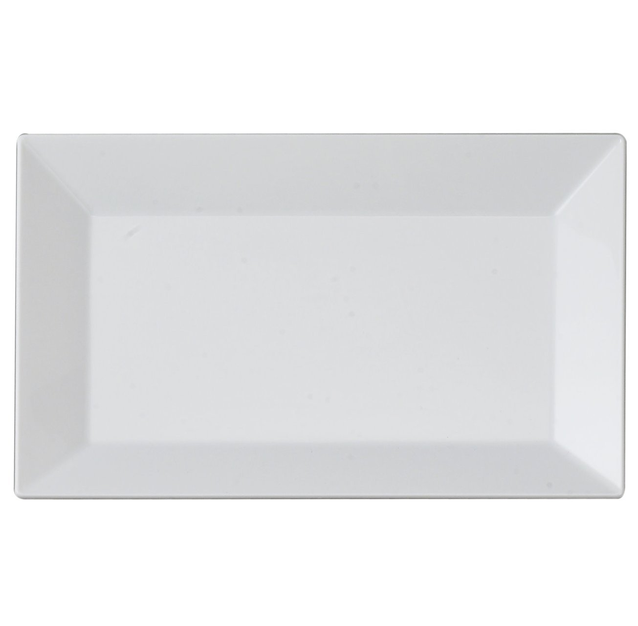 Kaya Collection - White Plastic Rectangle Salad/Dessert Plates - Disposable or Reusable - 2 Pack (20 Plates)
